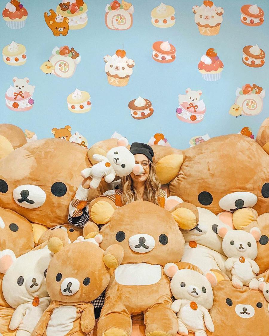 Instagram post of @hungryhipsters in the rilakkuma plush pit.