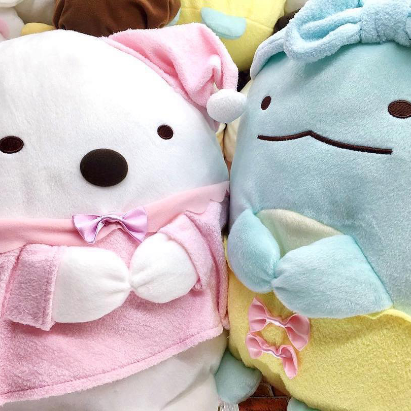 Instagram post of Shirokuma and Tokage next to each other in pajamas.