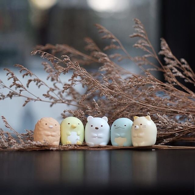 Instagram post of Sumikkogurashi keychains next to each other on a brown table.
