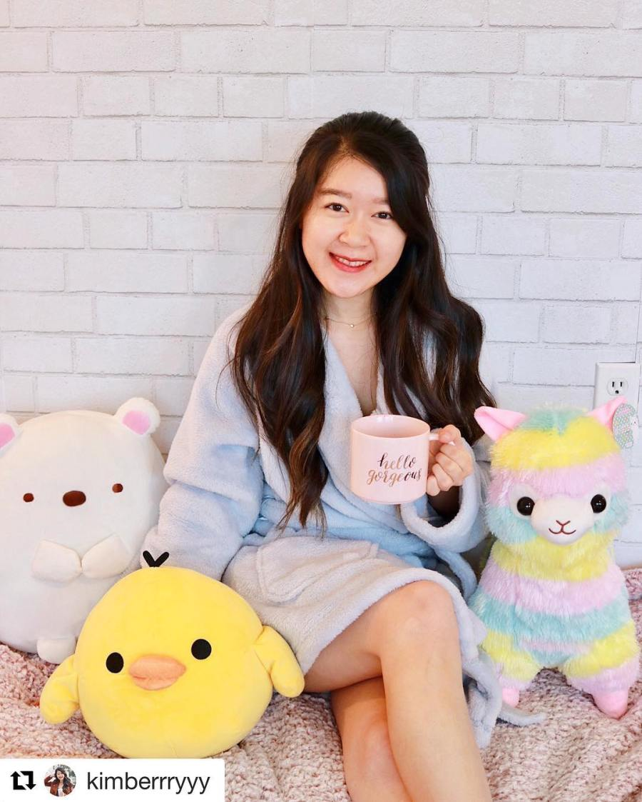 Instagram post of @kimberrryyy holding a mug sitting next to rainbow alpaca, shirokuma, and kiiroitori.
