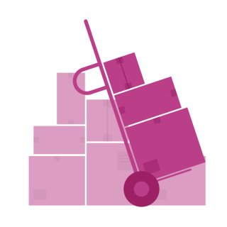 A graphic of magenta boxes on a dolly.