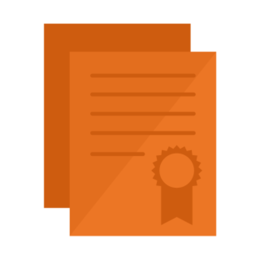 A graphic of orange licensing papers