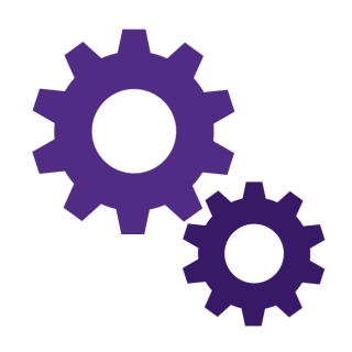 A graphic of two purple cogs.
