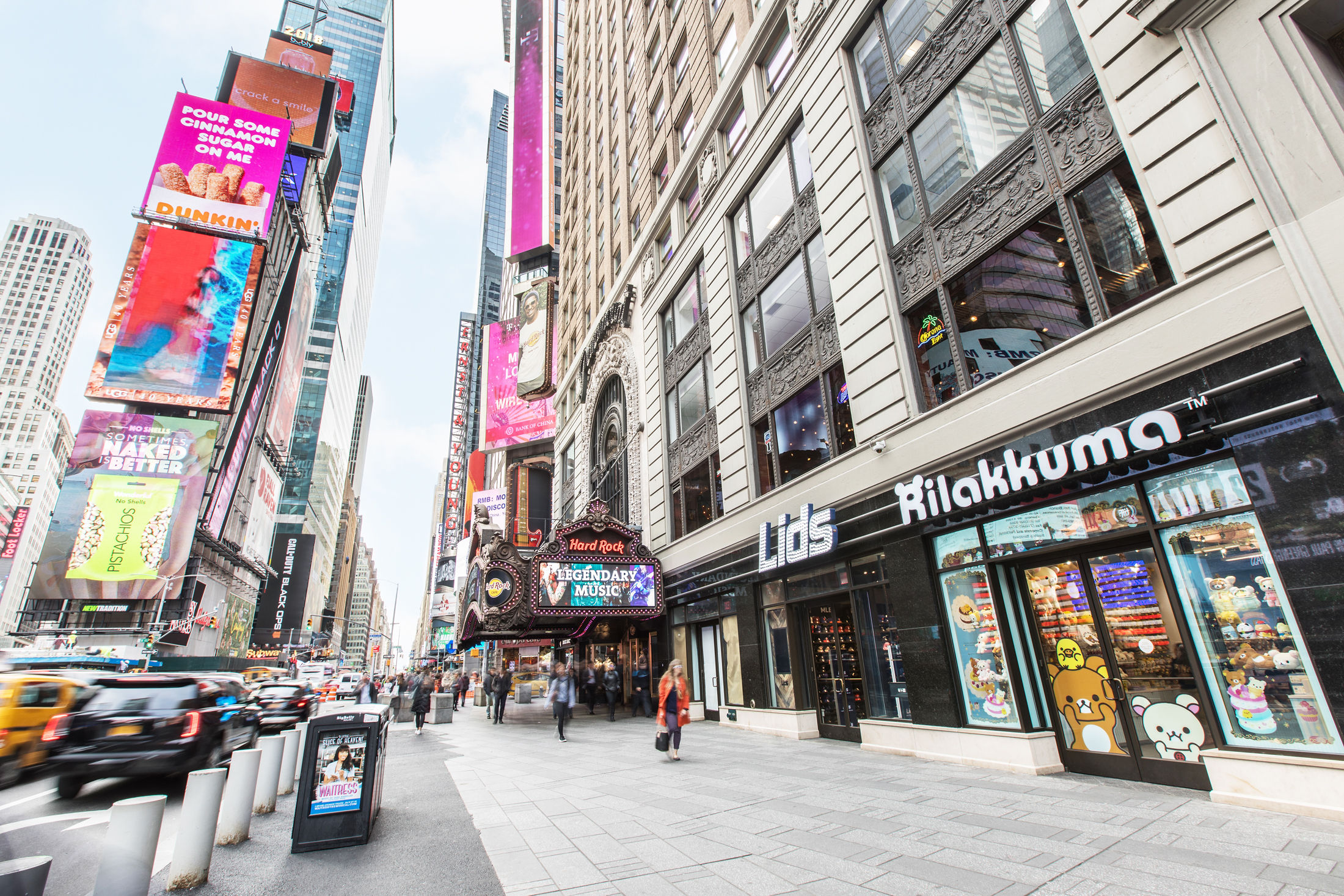 View of Times Square in New York with the front of the Rilakkuma Pop-up shop.