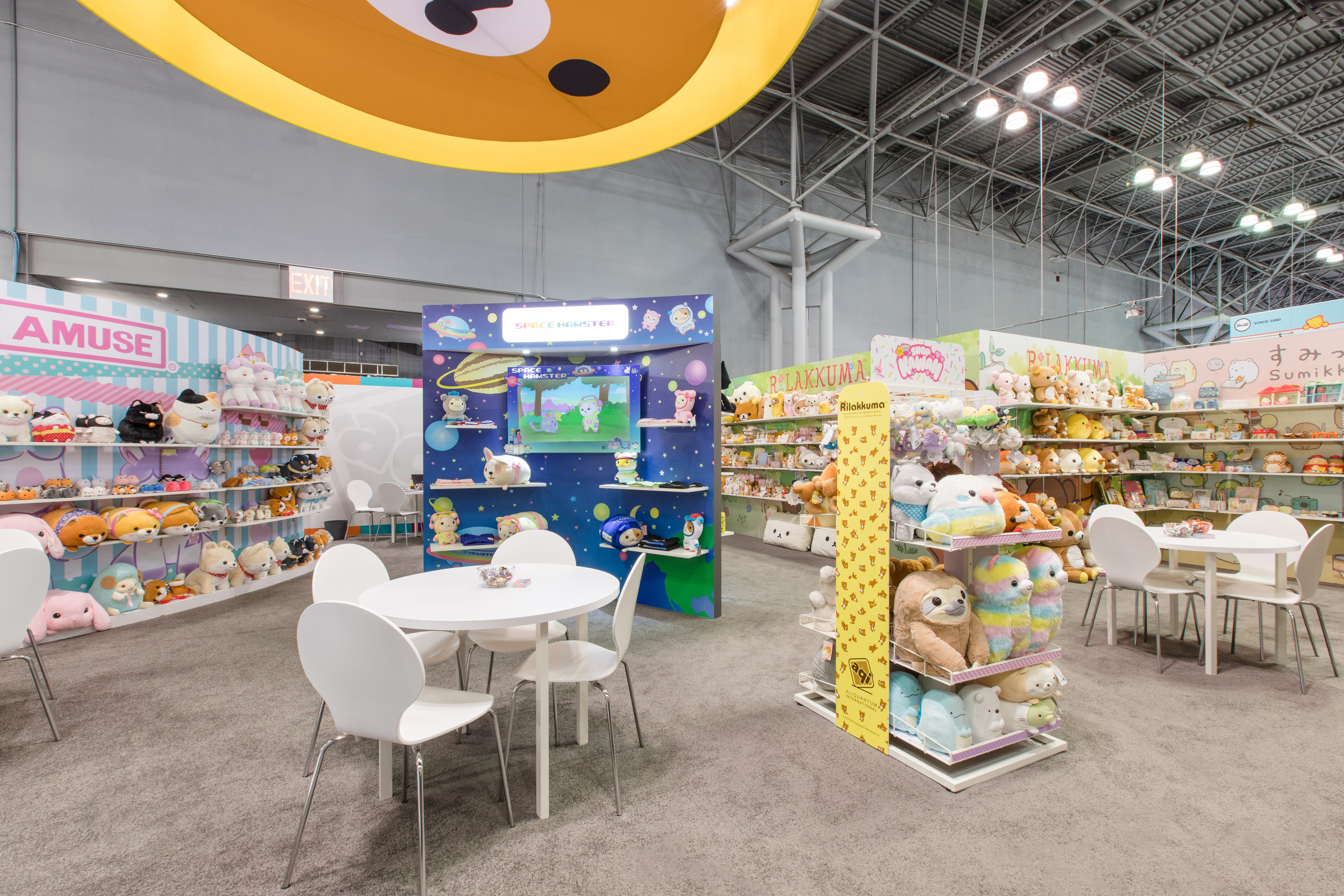 Wide view of AQI area at NYTF 2019. Areas shown include Amuse Rilakkuma, Space Hamster, Sumikkogurashi.